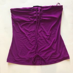 The Limited Purple tube blouse With ribbon string